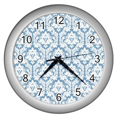 White On Light Blue Damask Wall Clock (silver) by Zandiepants