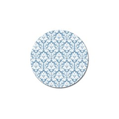 White On Light Blue Damask Golf Ball Marker by Zandiepants