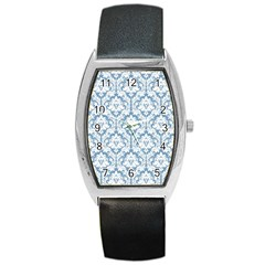 White On Light Blue Damask Tonneau Leather Watch by Zandiepants
