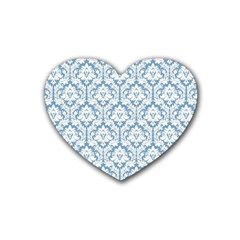 White On Light Blue Damask Drink Coasters 4 Pack (Heart)