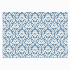 White On Light Blue Damask Glasses Cloth (Large, Two Sided) by Zandiepants