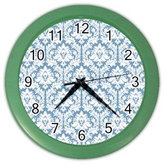 White On Light Blue Damask Wall Clock (color) by Zandiepants