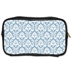 White On Light Blue Damask Travel Toiletry Bag (One Side) by Zandiepants