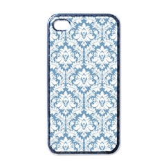 White On Light Blue Damask Apple Iphone 4 Case (black) by Zandiepants