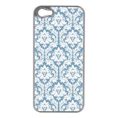 White On Light Blue Damask Apple iPhone 5 Case (Silver) by Zandiepants