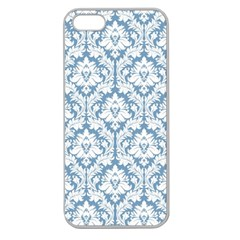 White On Light Blue Damask Apple Seamless Iphone 5 Case (clear) by Zandiepants