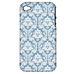White On Light Blue Damask Apple Iphone 4/4s Hardshell Case (pc+silicone) by Zandiepants