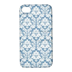 White On Light Blue Damask Apple Iphone 4/4s Hardshell Case With Stand by Zandiepants