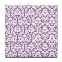 White On Lilac Damask Ceramic Tile by Zandiepants