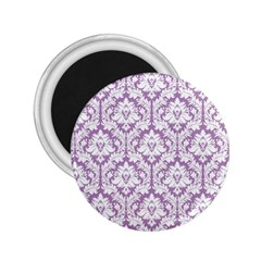 White On Lilac Damask 2.25  Button Magnet