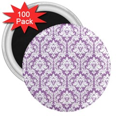 White On Lilac Damask 3  Button Magnet (100 Pack) by Zandiepants