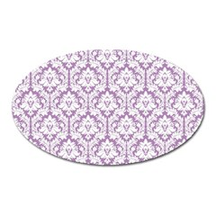 White On Lilac Damask Magnet (Oval) by Zandiepants