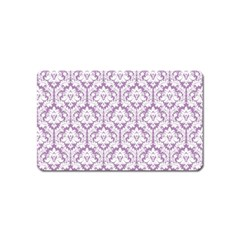 White On Lilac Damask Magnet (Name Card) by Zandiepants