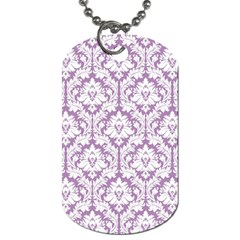 White On Lilac Damask Dog Tag (two Sided)