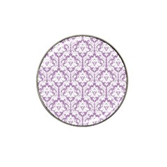 White On Lilac Damask Golf Ball Marker (for Hat Clip) by Zandiepants