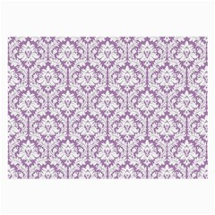 White On Lilac Damask Glasses Cloth (large) by Zandiepants