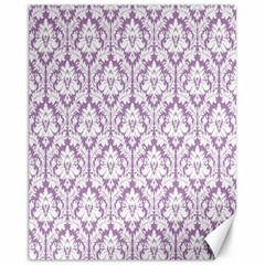 White On Lilac Damask Canvas 11  X 14  (unframed) by Zandiepants