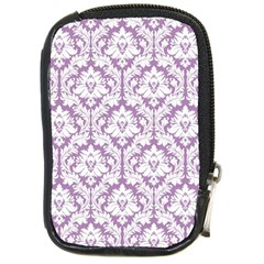 White On Lilac Damask Compact Camera Leather Case by Zandiepants