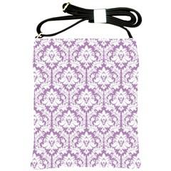 Lilac Damask Pattern Shoulder Sling Bag by Zandiepants
