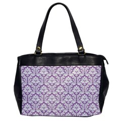 White On Lilac Damask Oversize Office Handbag (one Side) by Zandiepants