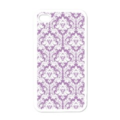 White On Lilac Damask Apple Iphone 4 Case (white) by Zandiepants