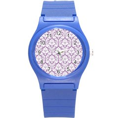 White On Lilac Damask Plastic Sport Watch (small)