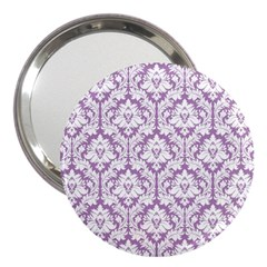 White On Lilac Damask 3  Handbag Mirror by Zandiepants