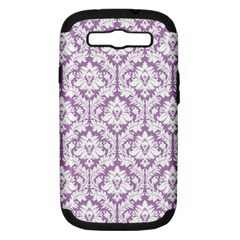 White On Lilac Damask Samsung Galaxy S Iii Hardshell Case (pc+silicone) by Zandiepants