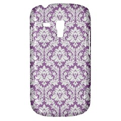 White On Lilac Damask Samsung Galaxy S3 MINI I8190 Hardshell Case by Zandiepants
