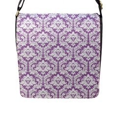 Lilac Damask Pattern Flap Closure Messenger Bag (l) by Zandiepants