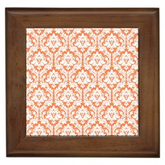 White On Orange Damask Framed Ceramic Tile by Zandiepants