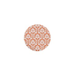 White On Orange Damask 1  Mini Button Magnet by Zandiepants