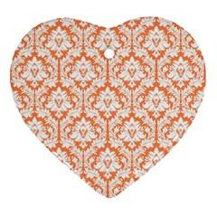 White On Orange Damask Heart Ornament by Zandiepants