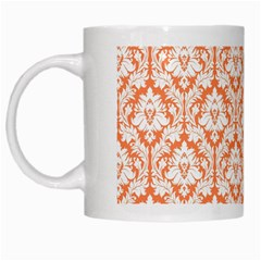 White On Orange Damask White Coffee Mug by Zandiepants