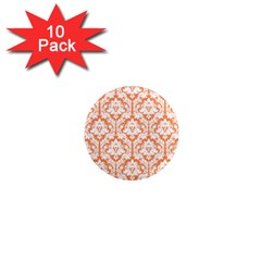 White On Orange Damask 1  Mini Button Magnet (10 Pack)