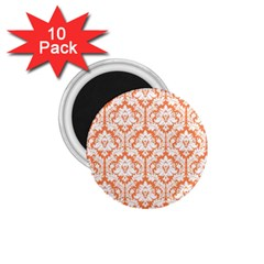 White On Orange Damask 1 75  Button Magnet (10 Pack) by Zandiepants
