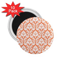 White On Orange Damask 2 25  Button Magnet (10 Pack) by Zandiepants