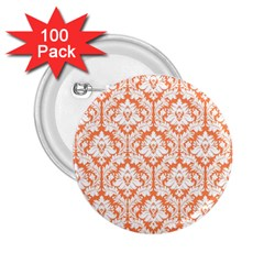 White On Orange Damask 2 25  Button (100 Pack) by Zandiepants