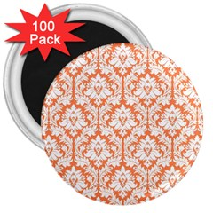 White On Orange Damask 3  Button Magnet (100 Pack) by Zandiepants