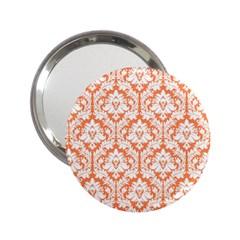 White On Orange Damask Handbag Mirror (2 25 ) by Zandiepants