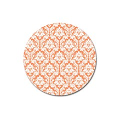White On Orange Damask Magnet 3  (round) by Zandiepants
