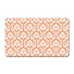 White On Orange Damask Magnet (rectangular) by Zandiepants