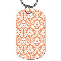 White On Orange Damask Dog Tag (one Sided) by Zandiepants
