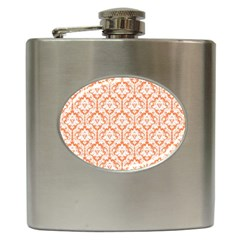 White On Orange Damask Hip Flask by Zandiepants