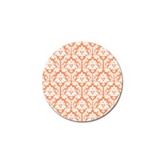 White On Orange Damask Golf Ball Marker 4 Pack by Zandiepants