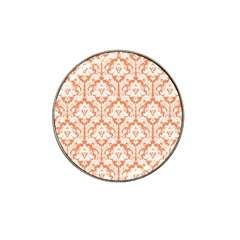White On Orange Damask Golf Ball Marker 4 Pack (for Hat Clip) by Zandiepants