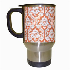 White On Orange Damask Travel Mug (white) by Zandiepants