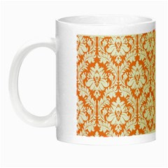 White On Orange Damask Glow In The Dark Mug by Zandiepants
