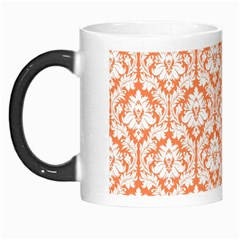 White On Orange Damask Morph Mug by Zandiepants