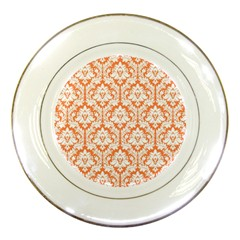 White On Orange Damask Porcelain Display Plate by Zandiepants